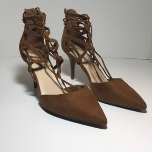 New Marc Fisher Lace Up Taupe Suede Heels 9 1/2